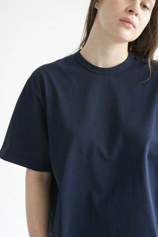 Studio Nicholson Lee T-shirt in Dark Navy on model view front