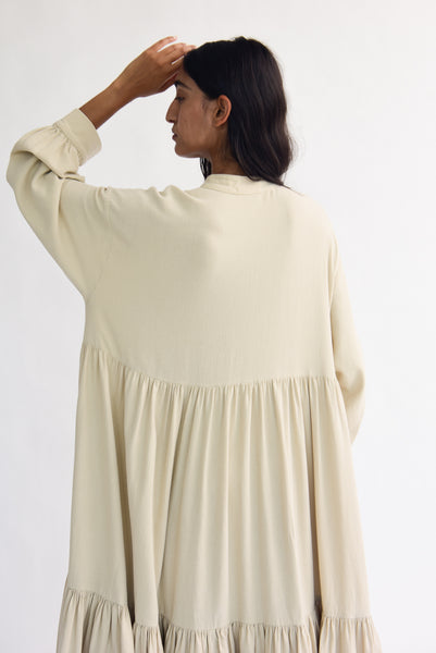 Black Crane Tent Dress in Natural sleeve back detail view
