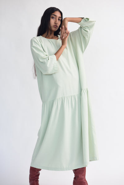 Black Crane Easy Dress in Sage on model view front