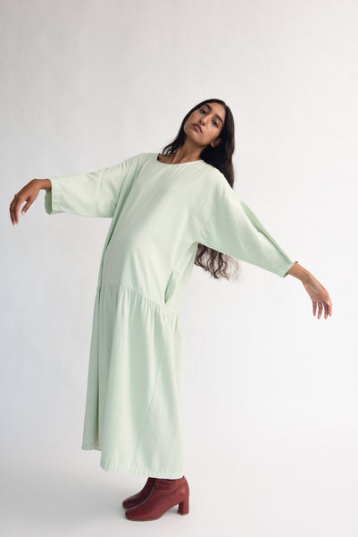 Black Crane Easy Dress in Sage on model view side