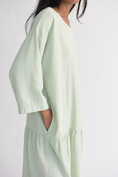 Black Crane Easy Dress in Sage pocket detail view