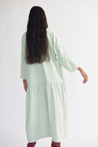Black Crane Easy Dress in Sage on model view back