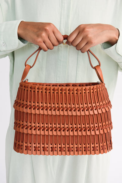 Hatori Leather Basket in Tan x Cinnamon front view