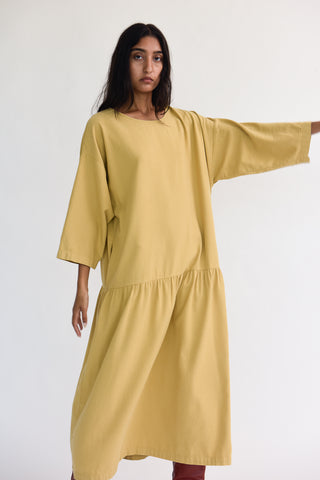 Black Crane Easy Dress in Tan on model view front
