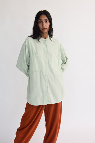 Black Crane Meca Shirt in Sage on model view front