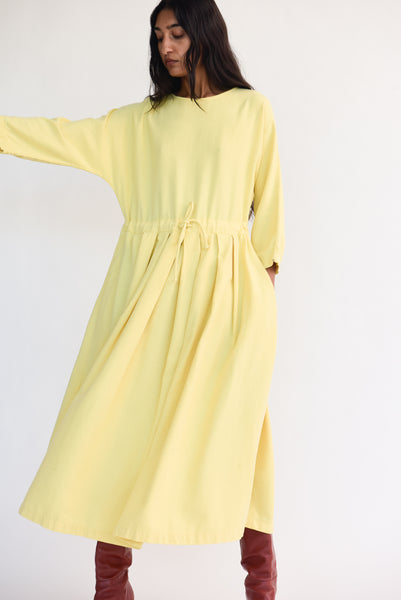 Pleated Dress in Custard