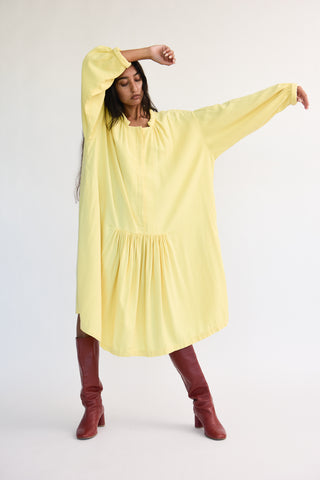 Black Crane Smock Dress in Custard on model view front