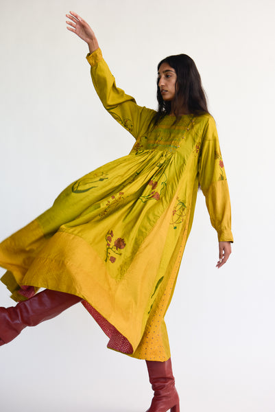 Injiri Silk Dress in Yellow Floral on model view side