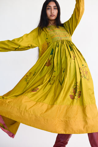 Injiri Silk Dress in Yellow Floral on model view front