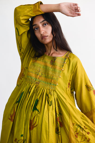 Injiri Silk Dress in Yellow Floral front bodice detail view
