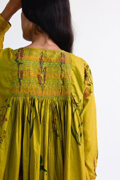 Injiri Silk Dress in Yellow Floral back detail view