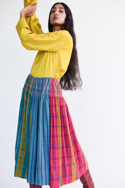 Injiri Skirt in Plaid Multi on model view side