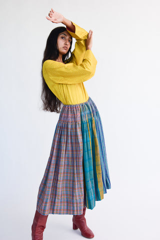 Injiri Skirt in Plaid Multi on model view front
