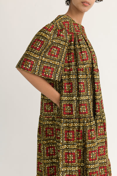 Odile Jacobs Flounce Dress Long in Brown with Red Squares pocket detail
