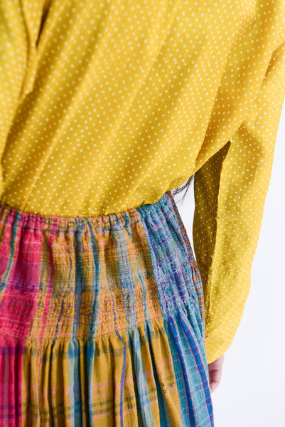 Injiri Skirt in Plaid Multi back waist smocking detail view