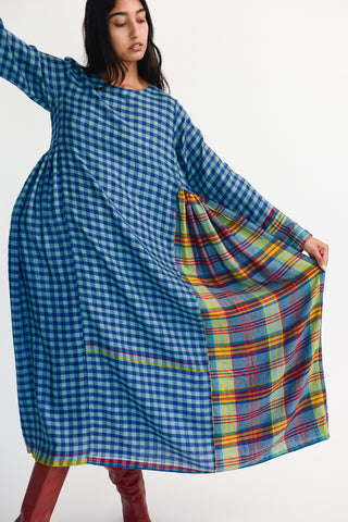 Injiri Dress in Blue Plaid on model view front
