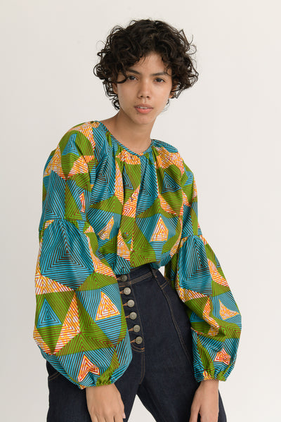 Odile Jacobs Blouse with Buttons in Blue, Green and Yellow front
