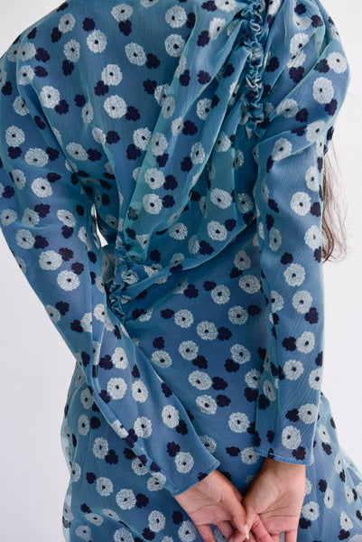 Rejina Pyo Andi Dress - Tencel Voile - Organza Mint Print in Purple sleeve detail view back