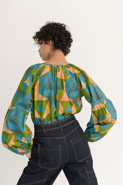 Odile Jacobs Blouse with Buttons in Blue, Green and Yellow back