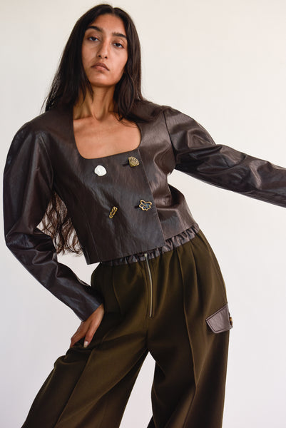 Rejina Pyo Nina Jacket - Faux Leather in Brown on model view front