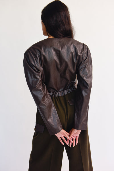 Rejina Pyo Nina Jacket - Faux Leather in Brown on model view back