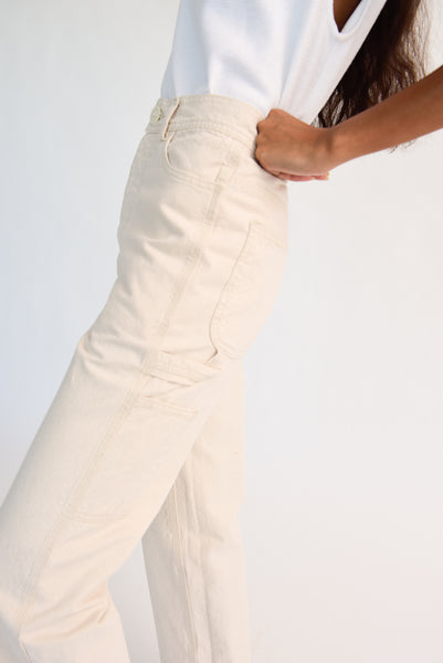 Jesse Kamm Handy Pant - Organic Cotton Canvas in Natural hammer pocket and loop side detail view