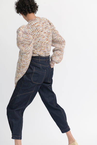 Ulla Johnson Keaton Jean in Raw Denim  back side