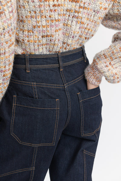Ulla Johnson Keaton Jean in Raw Denim back pocket detail