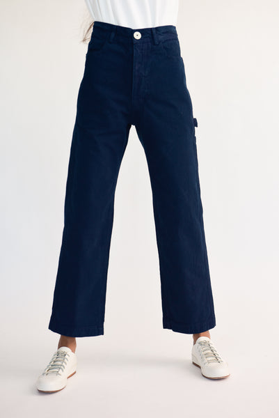 Jesse Kamm Handy Pant - Organic Cotton Canvas in Midnight on model view front