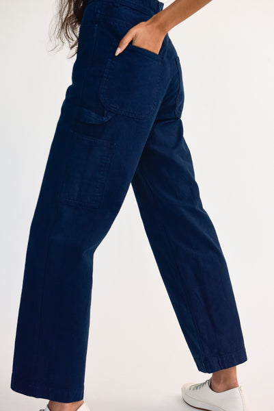 Jesse Kamm Handy Pant - Organic Cotton Canvas in Midnight on model view back