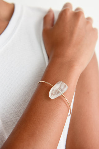 Mary MacGill Stone Cuff in Clear Quartz on model view