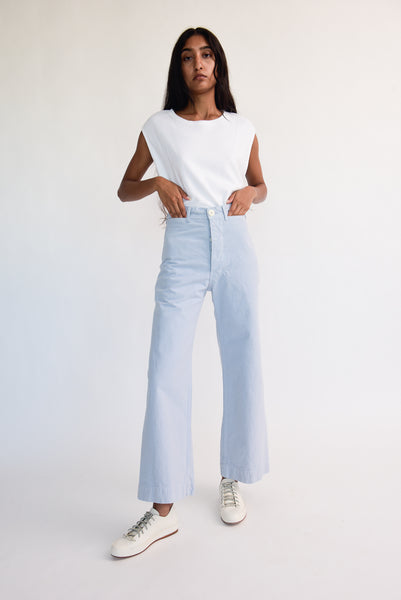 Jesse Kamm Sailor Pant - Organic Cotton Canvas in Smokey Blue on model view front