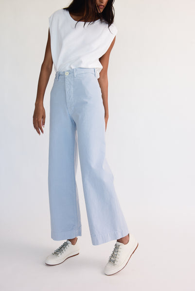Jesse Kamm Sailor Pant - Organic Cotton Canvas in Smokey Blue on model view side