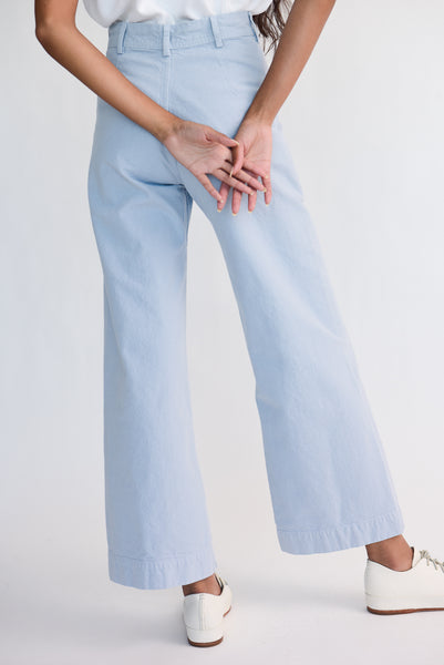 Jesse Kamm Sailor Pant - Organic Cotton Canvas in Smokey Blue on model view back