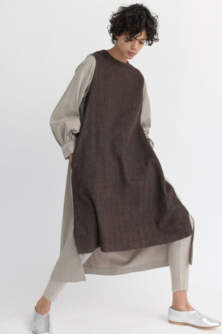 Cosmic Wonder Beautiful Linen Wool Ritual Dress in Brown front