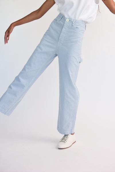 Jesse Kamm Handy Pant - Organic Cotton Canvas in Smokey Blue on model view front