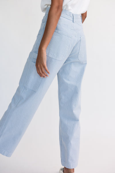 Jesse Kamm Handy Pant - Organic Cotton Canvas in Smokey Blue on model view back