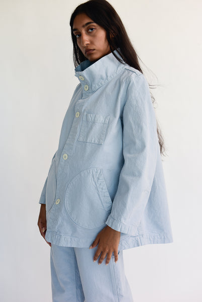 Jesse Kamm Deck Jacket - Organic Cotton Canvas in Smokey Blue on model view side