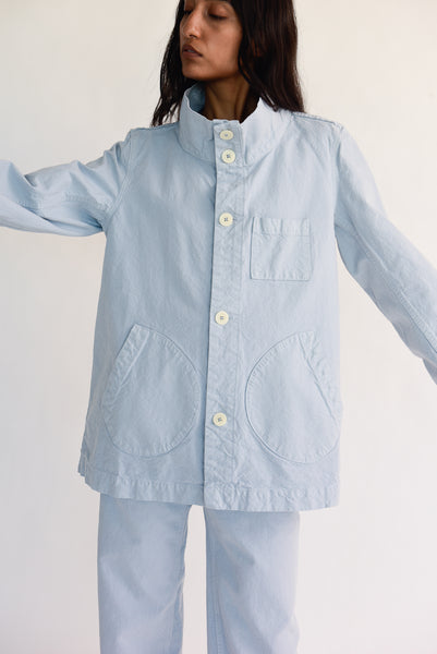 Jesse Kamm Deck Jacket - Organic Cotton Canvas in Smokey Blue on model view front