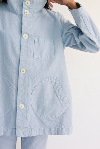 Jesse Kamm Deck Jacket - Organic Cotton Canvas in Smokey Blue front pocket detail view