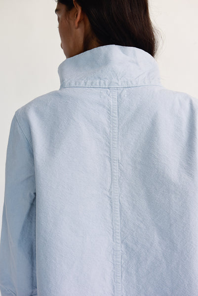 Jesse Kamm Deck Jacket - Organic Cotton Canvas in Smokey Blue back collar detail view