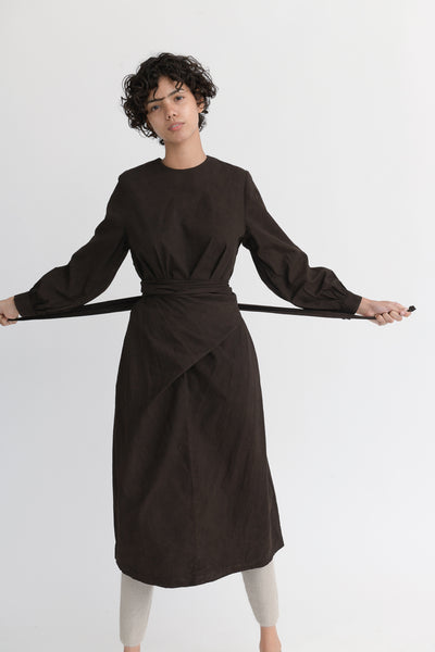 Cosmic Wonder Beautiful Organic Cotton Wrapped Dress in Earth Soil on model view front