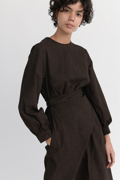 Cosmic Wonder Beautiful Organic Cotton Wrapped Dress in Earth Soil pocket detail