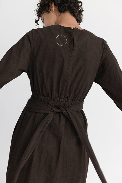 Cosmic Wonder Beautiful Organic Cotton Wrapped Dress in Earth Soil back waist detail
