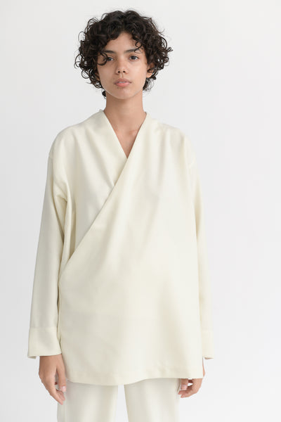 Cosmic Wonder Beautiful Flannel Wool Kimono Shirt in White front