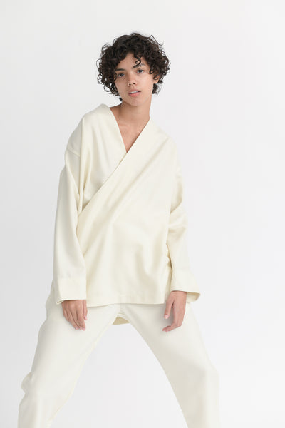 Cosmic Wonder Beautiful Flannel Wool Kimono Shirt in White on model view front