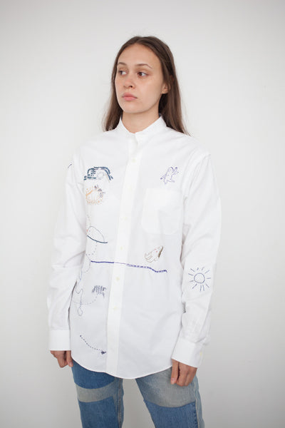 Hus Hus White Cotton Embroidered Shirt | Oroboro Store | Brooklyn, New York