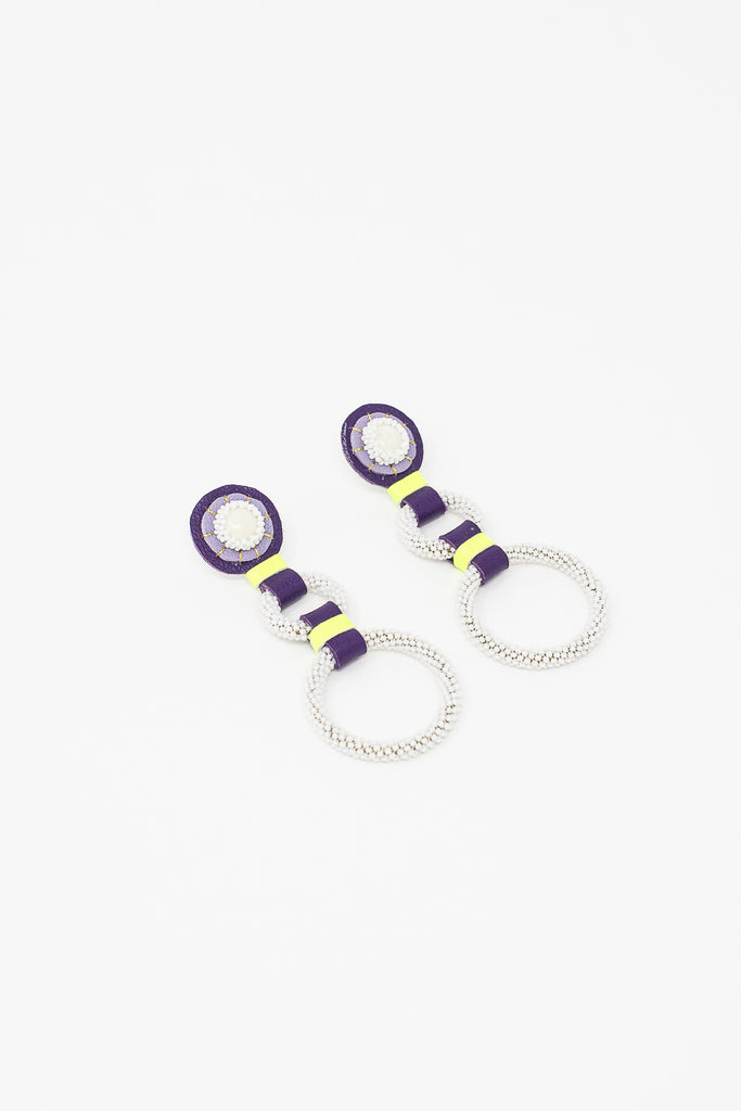 Robin Mollicone Double Hoop Earrings in Lemon Chrysophrase/Purple/Neon/White | Oroboro Store | New York, NY