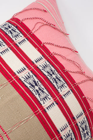Oroboro Store Konyak Tribe Woven Pillow in Pink, Grey, Red, Navy & White | Oroboro Store | New York, NY