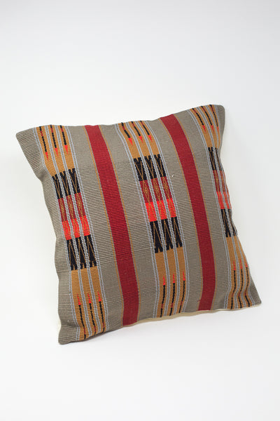 Oroboro Store Konyak Tribe Woven Pillow in Dark Grey, Red, Navy & Rust | Oroboro Store | New York, NY